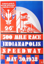 "INDIANAPOLIS 500 1938 reproduction poster 25 x 18""(630x470mm)"